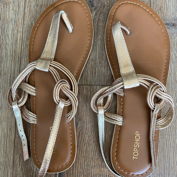 Topshop Gold Flat Sandals - size 7